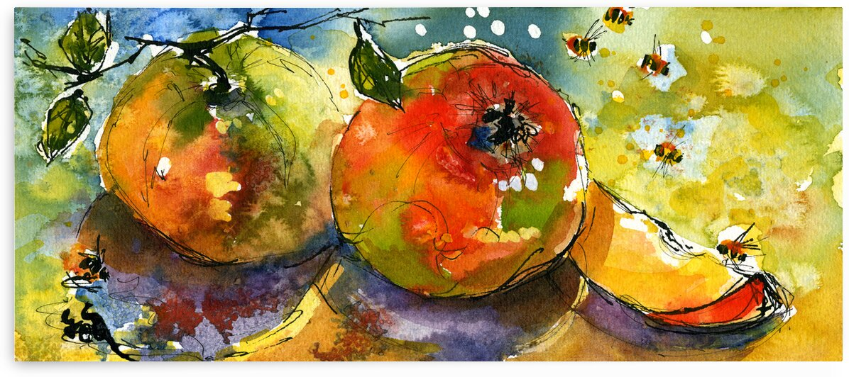 Apples Bees Food Art by Ginette Fine Art
