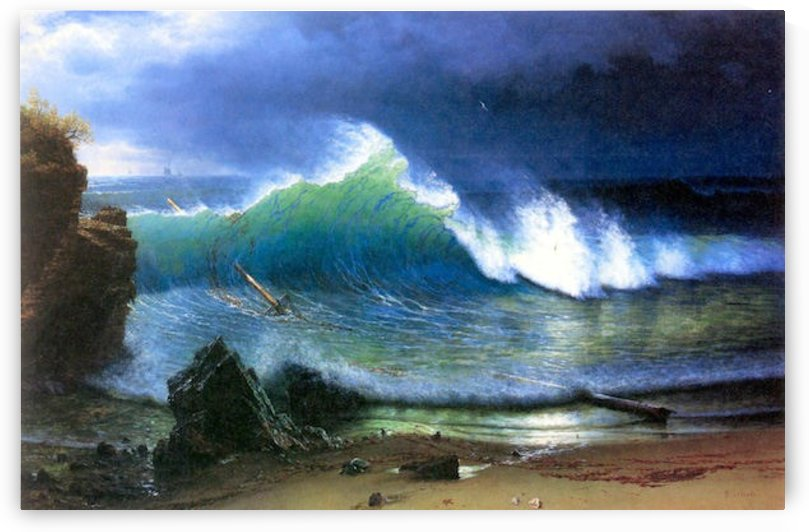 The coast of the Turquoise sea by Bierstadt by Bierstadt