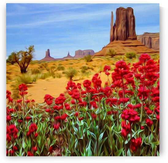 Blooming red flowers against the background of the Texas Desert.  by Ievgeniia Bidiuk