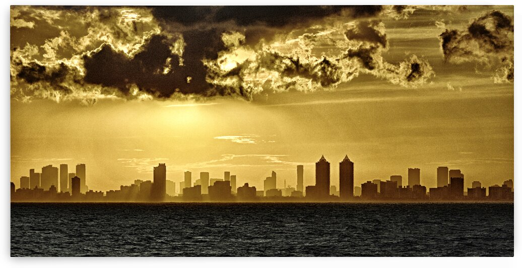 Miami Skyline Golden Sunset by Bill Swartwout Photography