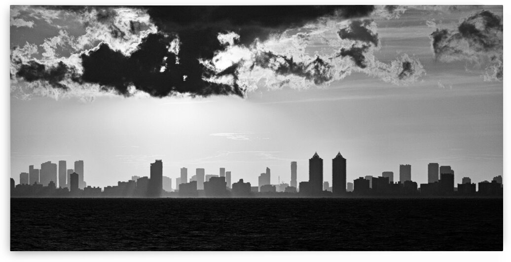 Miami Skyline Black and White Sunset by Bill Swartwout Photography