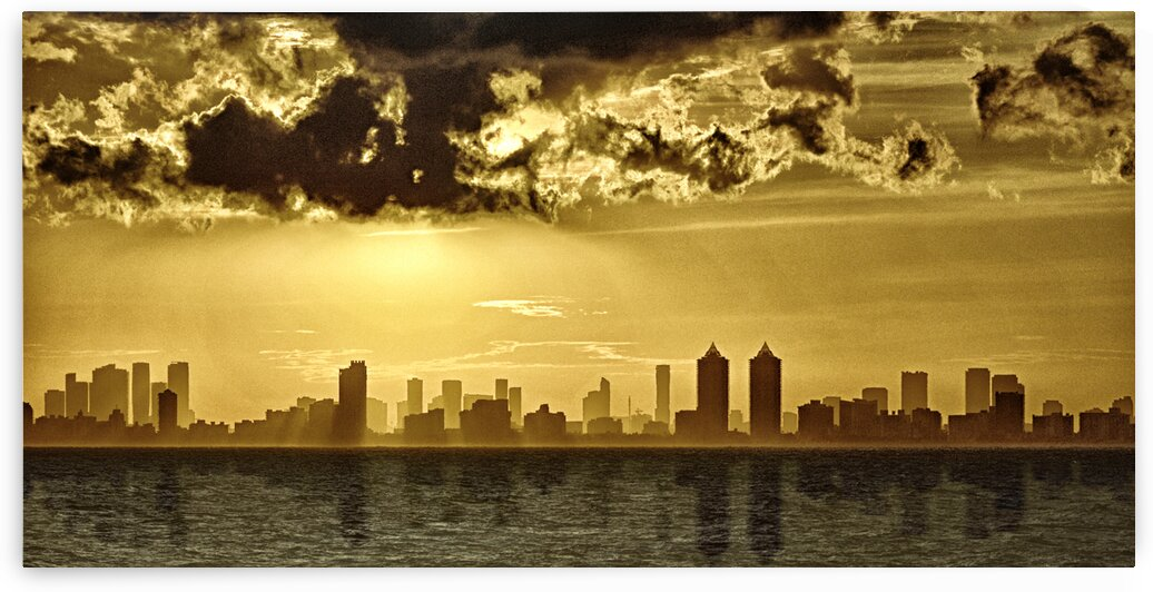 Miami Skyline Golden Sunset Reflection by Bill Swartwout Photography