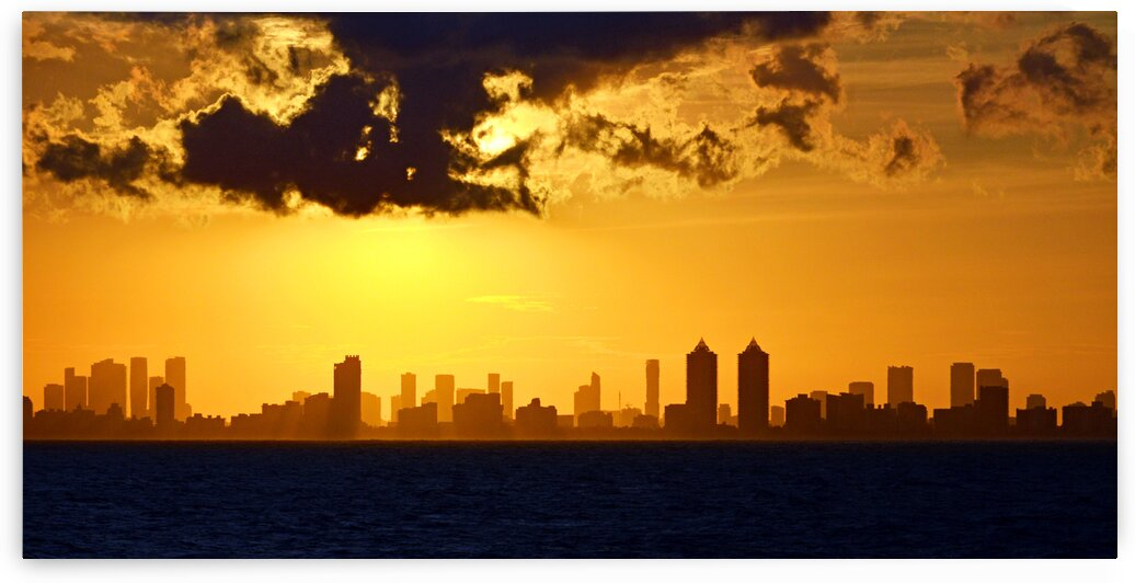 Miami Skyline Orange Sunset by Bill Swartwout Photography