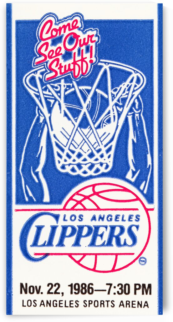 1986 LA Clippers Ticket Stub Art by Row One Brand