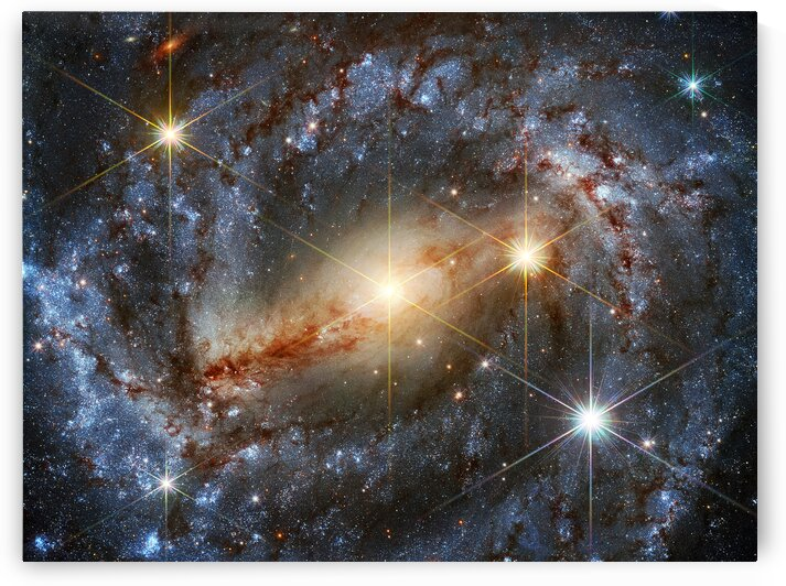 Spiral Galaxy NGC 5643 with Highlighted Stars Outer Space Image by Bill Swartwout Photography