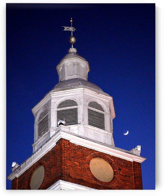 otterbein belfry w moon3 by Bill Swartwout Photography