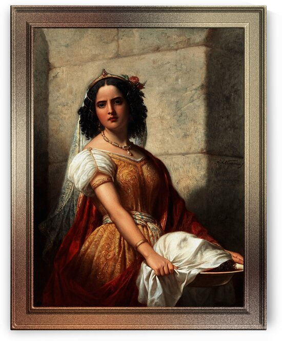Salome With The Head Of John The Baptist by Jan Adam Kruseman Classical Art Old Masters Reproduction by xzendor7