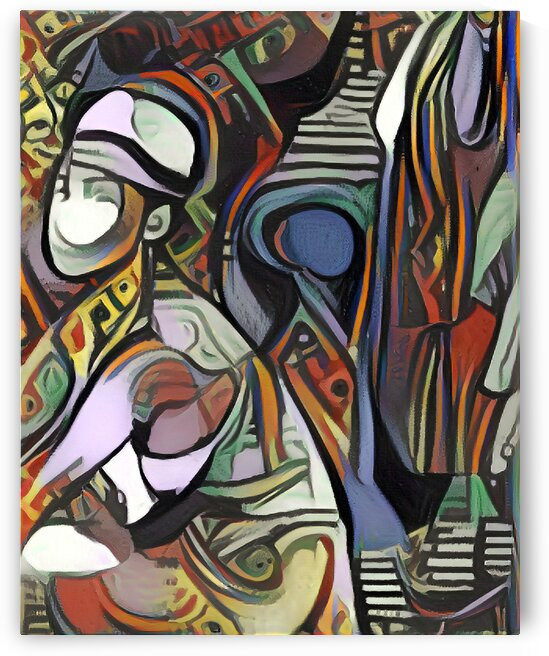 Woman in Fedora Picasso Style Art by Million Dollar Art