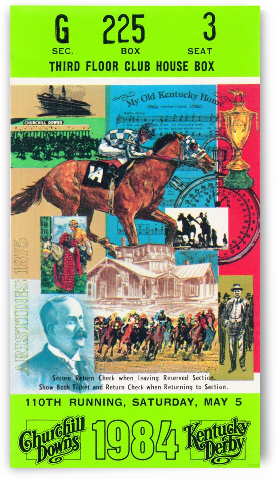 1984 Kentucky Derby Ticket Stub Poster by Row One Brand