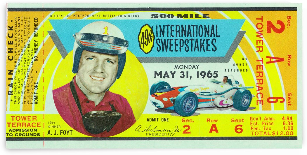 1965 Indy 500 Ticket Stub Canvas Art by Row One Brand