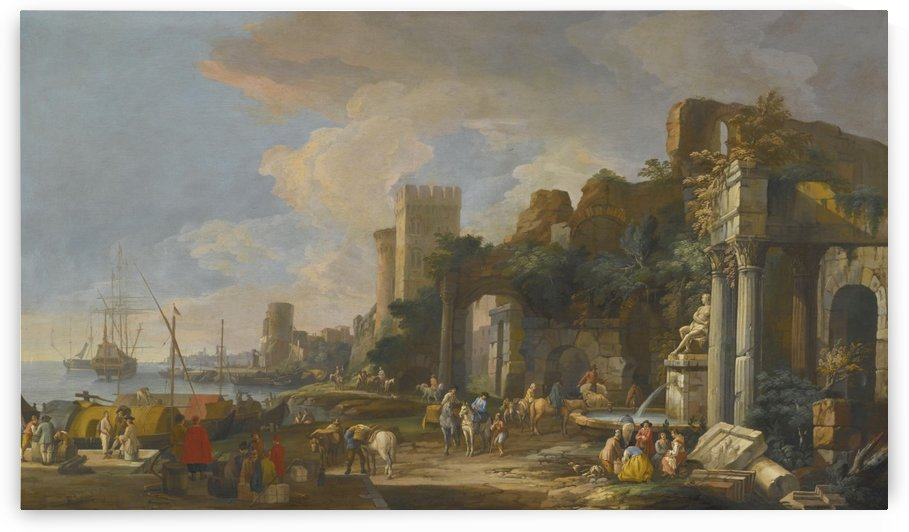 Capriccio View of a Mediterranean Port by Luca Carlevarijs