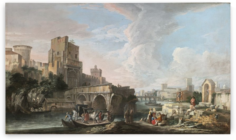 River Landscape with A Capriccio View of the Ponte Rotto, Rome by Luca Carlevarijs