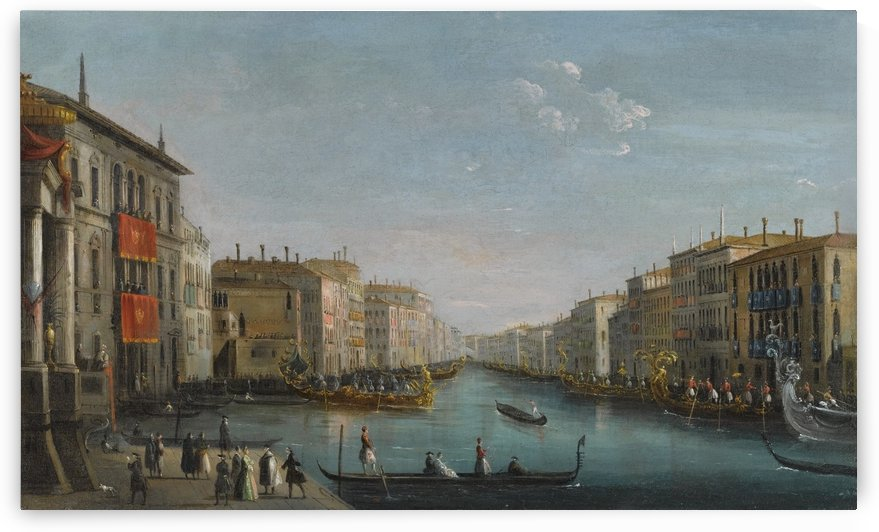 Venice, a view of the Grand Canal from the Palazzo Balbi looking toward the Rialto Bridge with a regata by Luca Carlevarijs