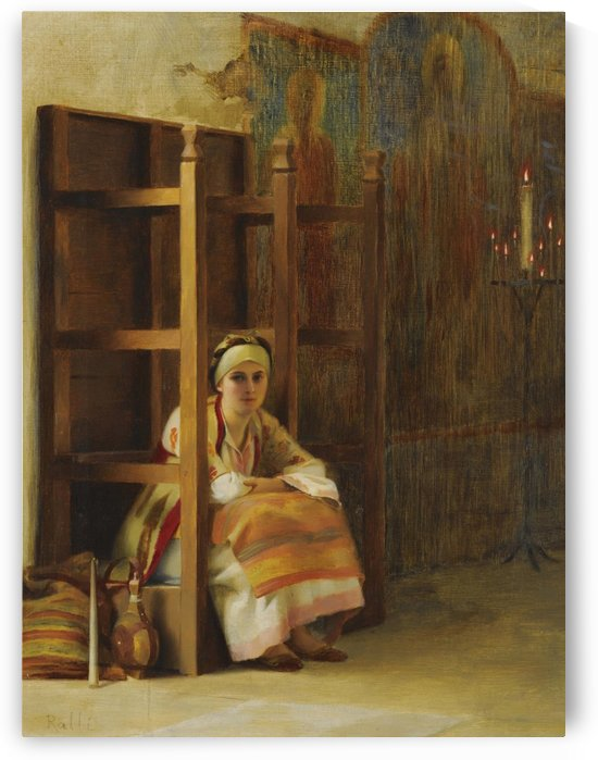 Young Girl in a Greek Church by Theodore Ralli