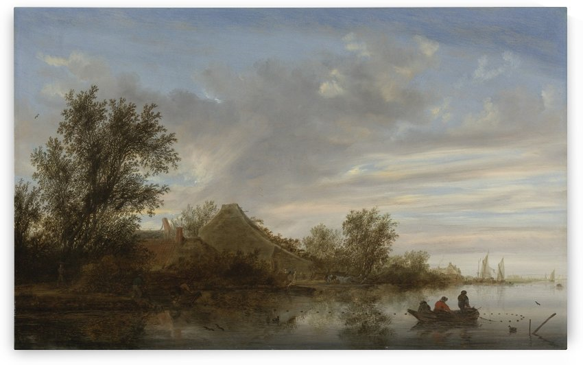 A river landscape with fishermen in rowing boats and peasants by a landing stage near a farmhouse, shipping beyond by Salomon van Ruysdael