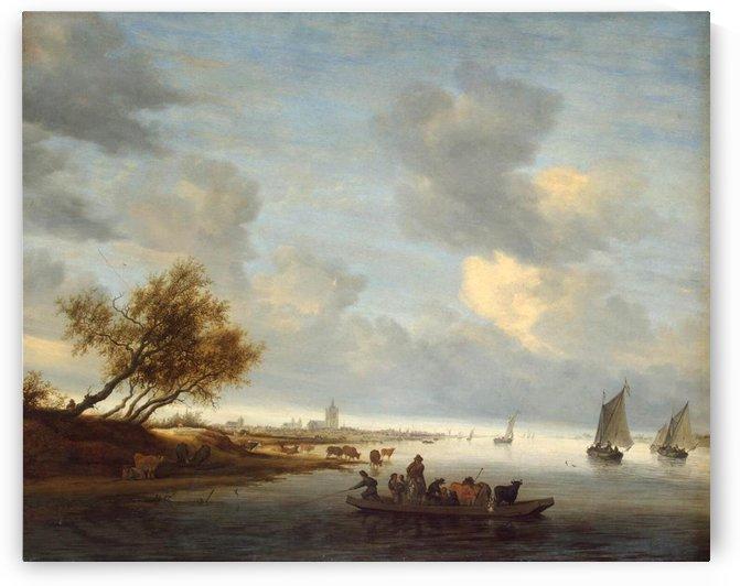 A Ferry Boat near Arnheim by Salomon van Ruysdael
