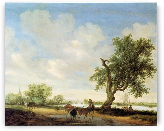 River Landscape with figures by Salomon van Ruysdael