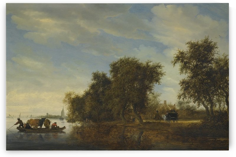 A River Landscape with a Ferry Boat by Salomon van Ruysdael
