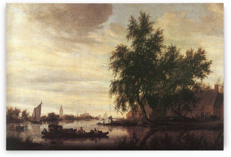 The Ferryboat by Salomon van Ruysdael