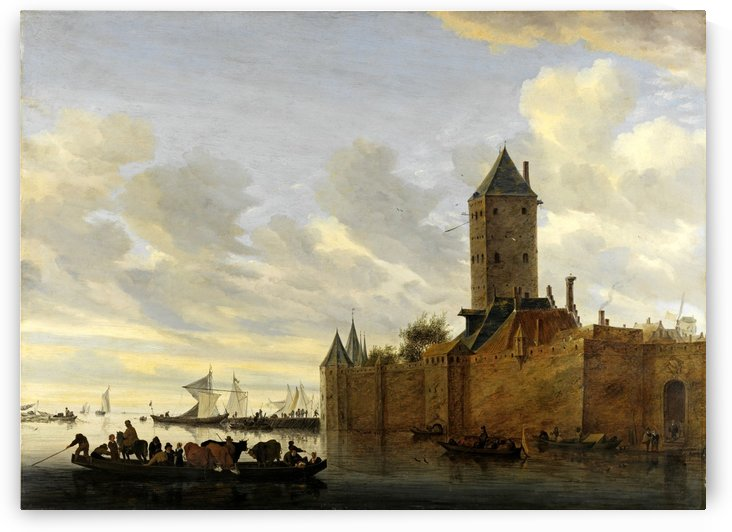 Estuary with fortified city, 1648 by Salomon van Ruysdael