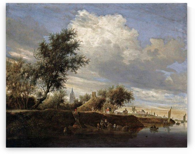 Ferry near Gorinchem by Salomon van Ruysdael