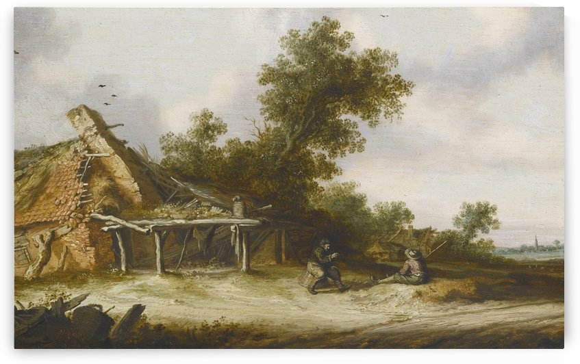 Two seated travellers conversing beside a sandy road in front of a ruined barn, a town with a church spire in the distance by Salomon van Ruysdael