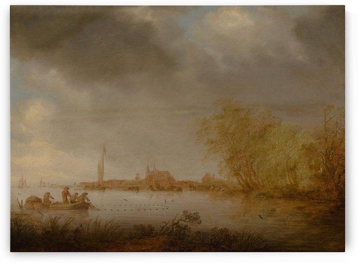 River Scene near Deventer by Salomon van Ruysdael