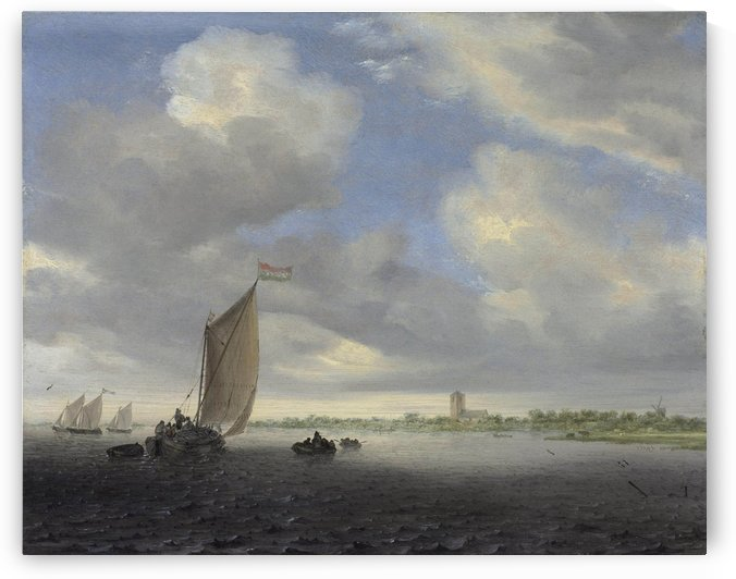 A wijdship and other small Dutch vessels on an estuary, a church beyond by Salomon van Ruysdael