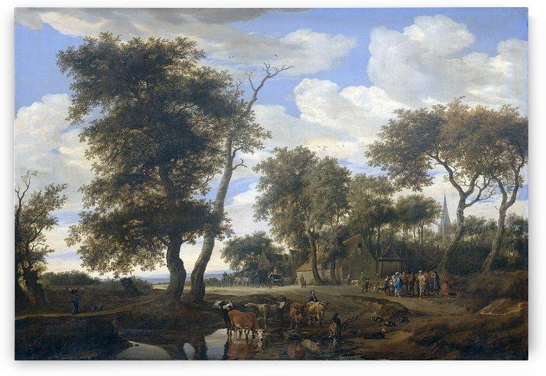 Dorpsgezicht by Salomon van Ruysdael