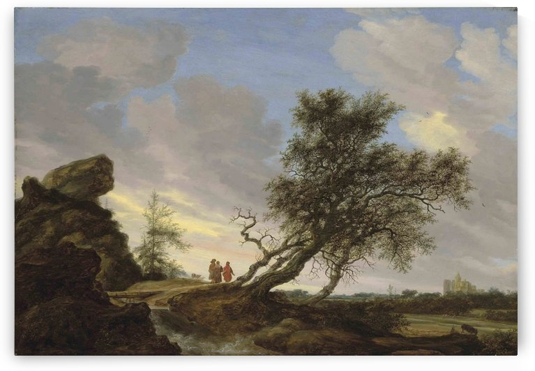 An extensive landscape with the Road to Emmaus by Salomon van Ruysdael