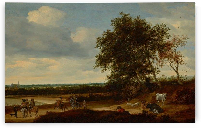 Landscape with travelers and roosting flock by Salomon van Ruysdael