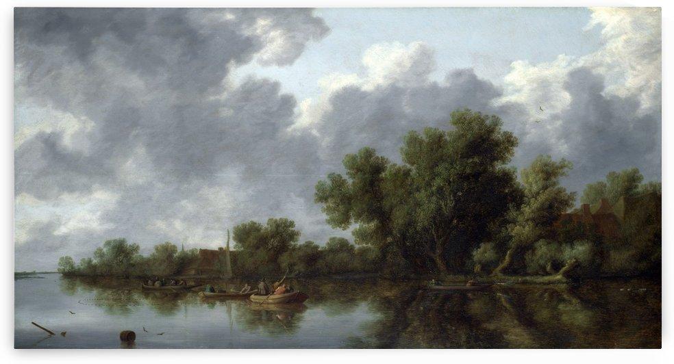 River Scene by Salomon van Ruysdael