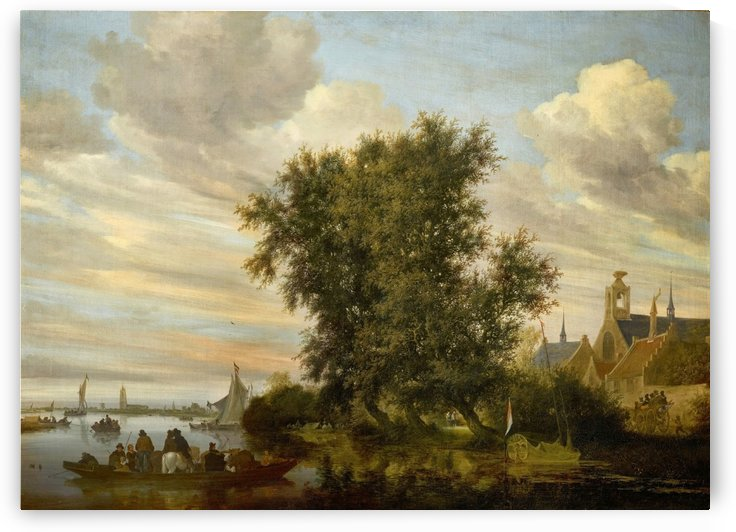River Landscape with a Ferry, a Yacht and other Vessels, with a View of Gorinchem in the Distance, 1647 by Salomon van Ruysdael
