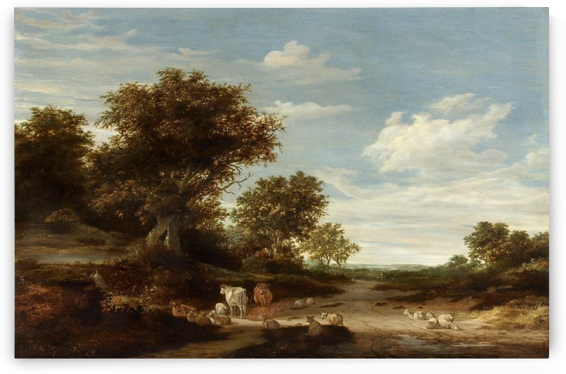 Landscape with gracing cows and sheeps by Salomon van Ruysdael