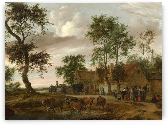 A village landscape with carriages outside an inn by Salomon van Ruysdael
