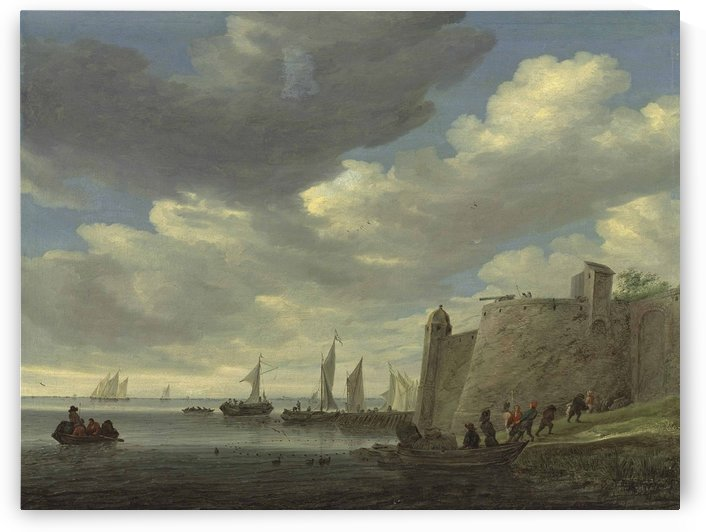 A river estuary with figures pulling in their nets by a fort by Salomon van Ruysdael
