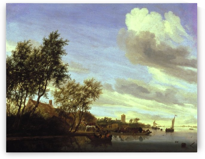 River Scene, 1656 by Salomon van Ruysdael