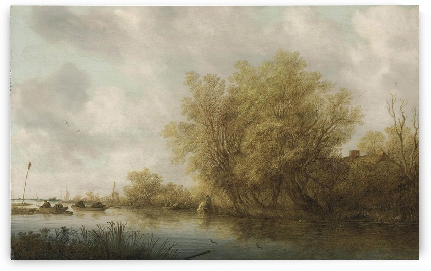 A river landscape with sportsmen duck shooting from a boat by Salomon van Ruysdael