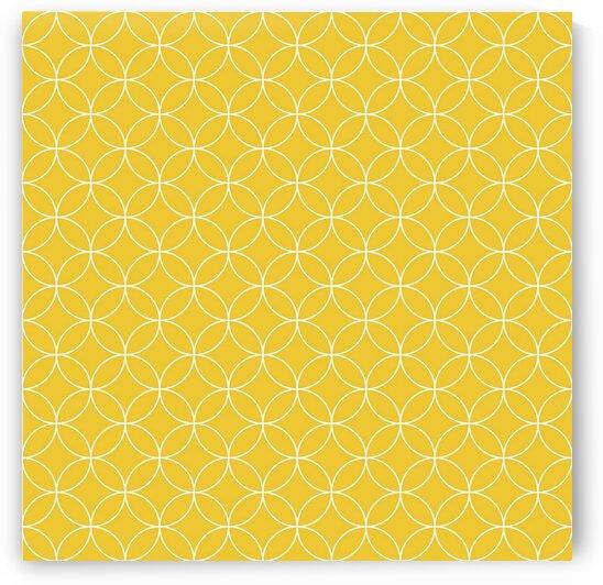 Mustard Retro Circle Pattern by rizu_designs