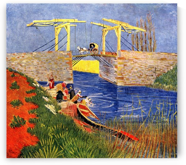 The Langlois Bridge at Arles with Women Washing by Van Gogh by Van Gogh