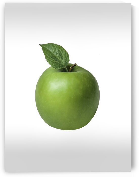 Pomme verte avec sa feuille sur fond blanc - Green apple with its leaf on white background by Daniel Ouellette