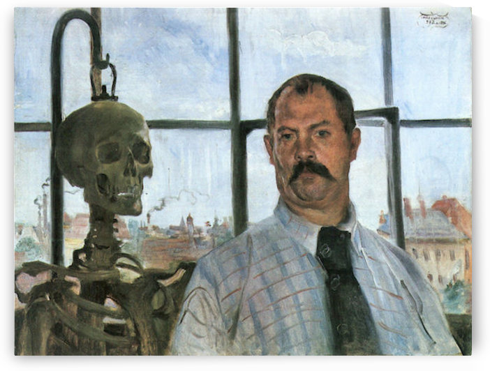 Self Portrait with Skeleton by Lovis Corinth by Lovis Corinth