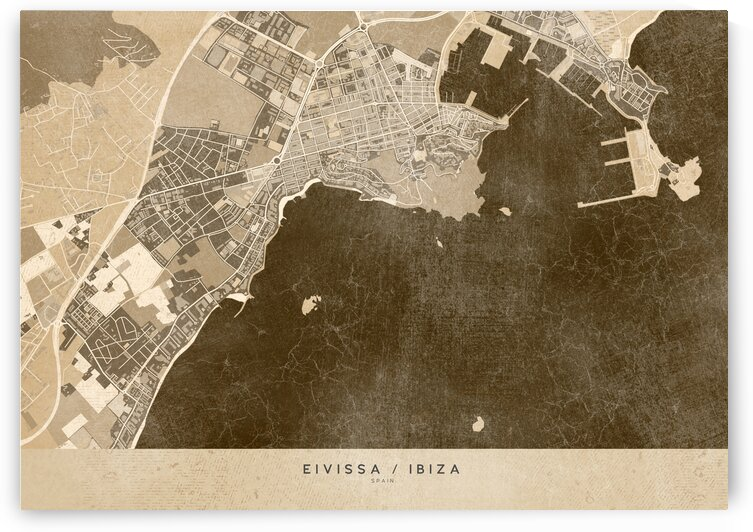 Sepia vintage map of Ibiza Spain by blursbyai