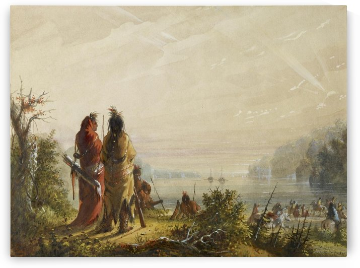 Indians Threatening to Attack Fur Boats by Alfred Jacob Miller