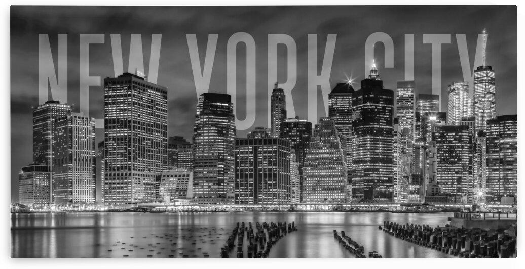 NEW YORK CITY Skyline   Monochrome Panorama by Melanie Viola