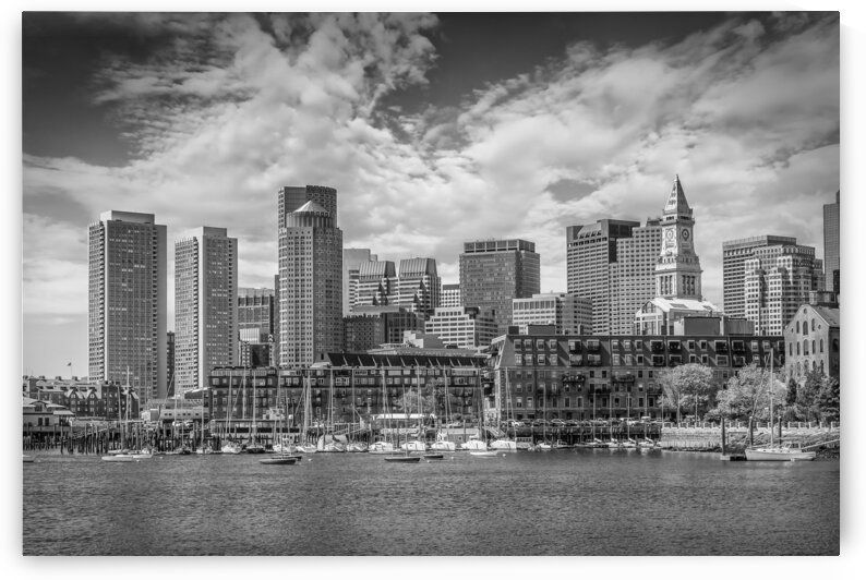 BOSTON Skyline North End & Financial District   Monochrome by Melanie Viola