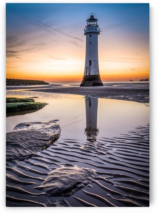 New Brighton Lighthouse on the beach by Adrian L Austin