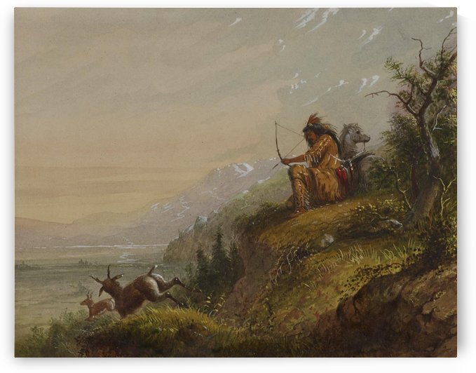 A Pawnee Indian shooting antelopes by Alfred Jacob Miller