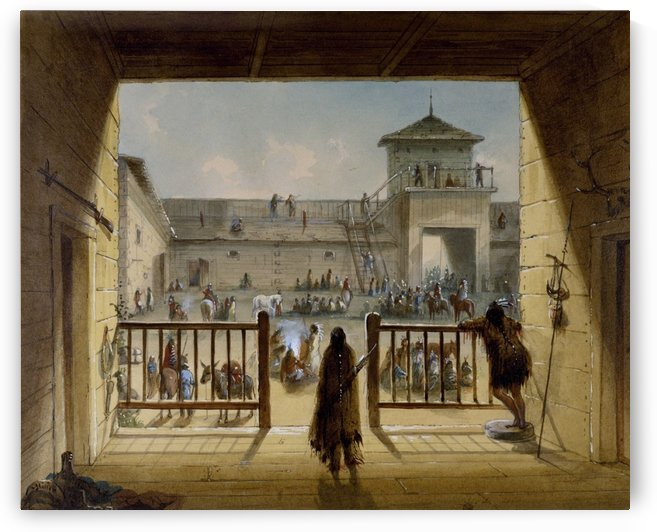 Interior of Fort Laramie by Alfred Jacob Miller