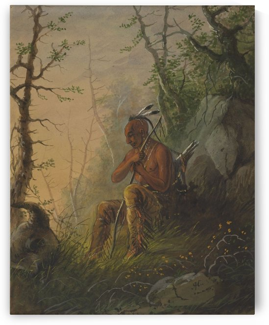 Sioux Indian at a Grave by Alfred Jacob Miller